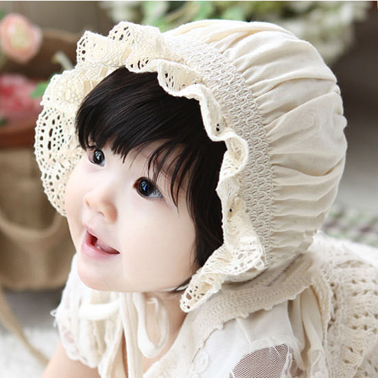 0--3 months baby hat spring and female baby hat baby hat korean version of the spring and autumn cotton newborn baby hat princess hat lace cap