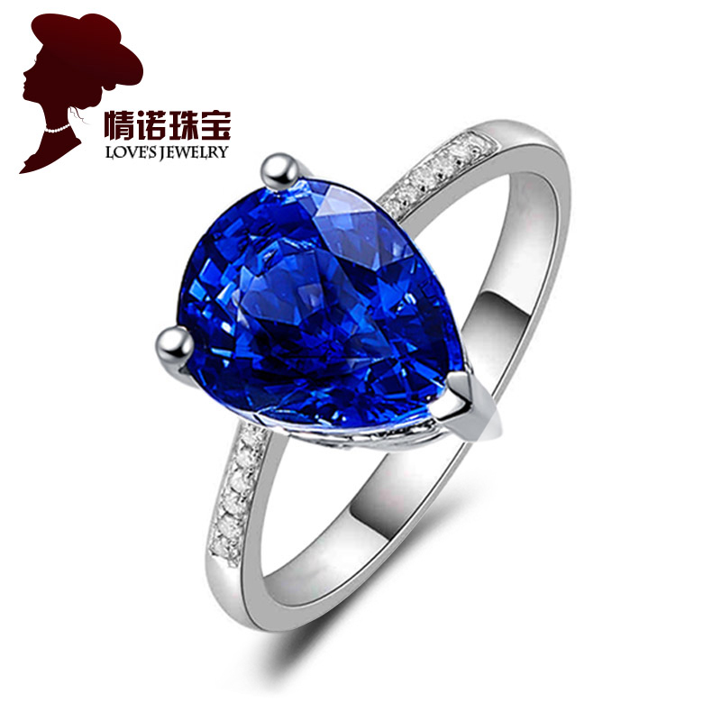 0.8 karat kt sri lanka natural sapphire ring female models k gold inlay diamond ring custom jewelry