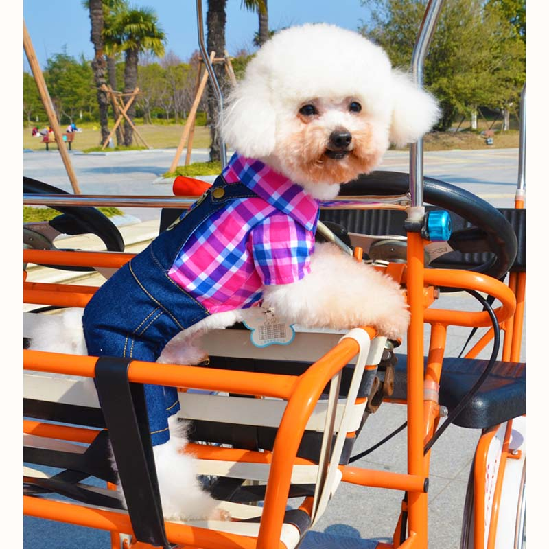 1 free shipping fun plaid denim overalls pet dog clothes spring and autumn legs small dog teddy