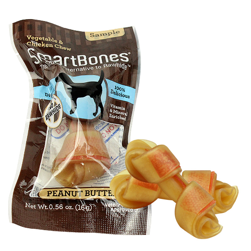 [10 get 1] smartbones small dog bone tooth cleaning dog chews peanut flavor 16g pet dog treats