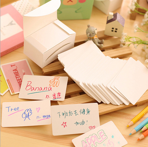 100/boxed vintage white cardboard paper jam message word cards business cards mini kraft paper jams