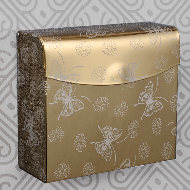Shengxue stainless steel bathroom toilet paper holder toilet paper box creative golden square tissue box tissue box waterproof toilet paper cassette