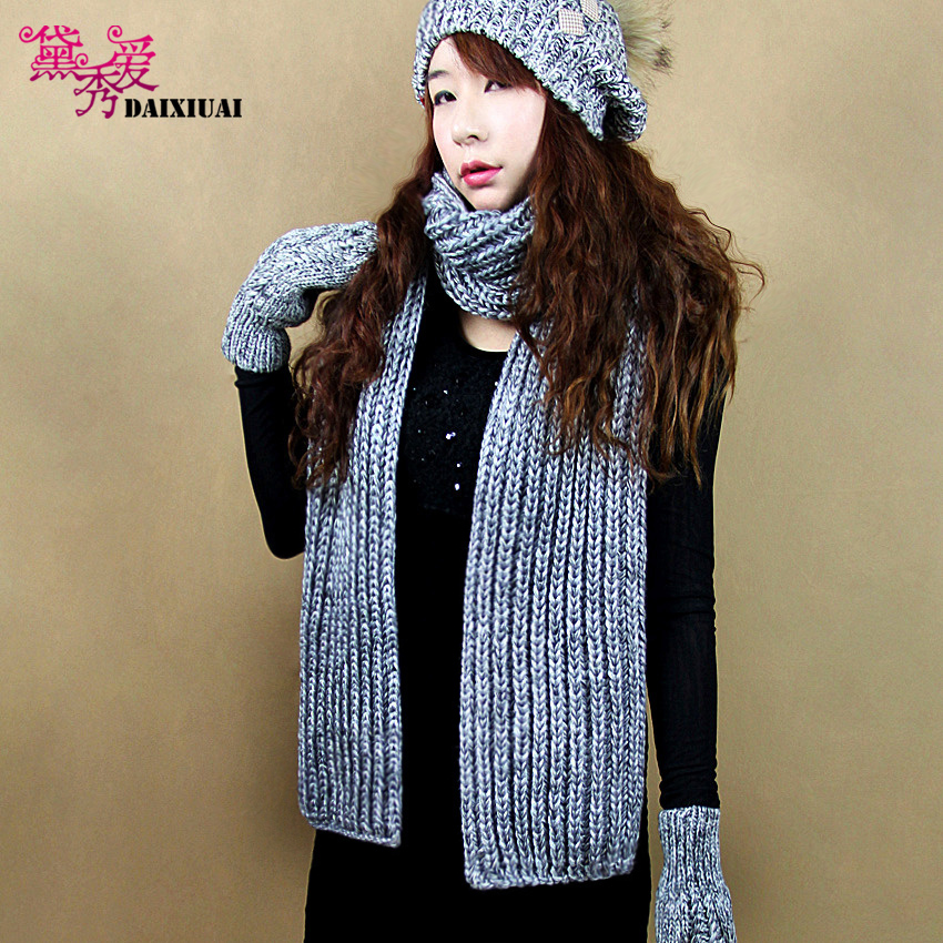 Dai show love korean version of the male korean winter long knitted wool scarves couple models fall and winter scarves ms. thick