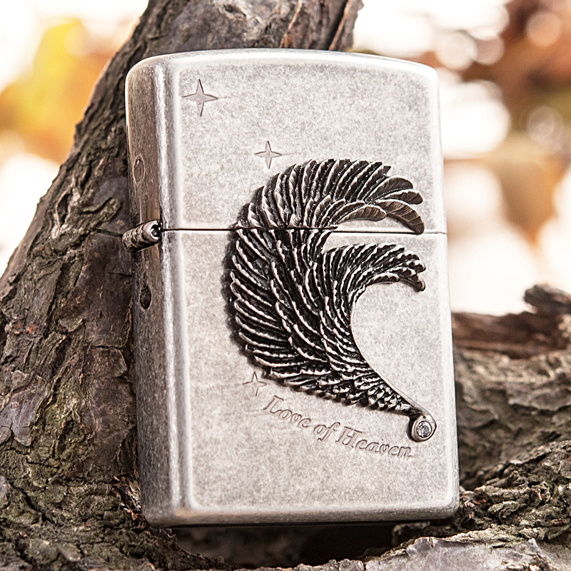 Original genuine zippo lighters ancient silver feather genuine swan swan love love limited edition genuine windproof