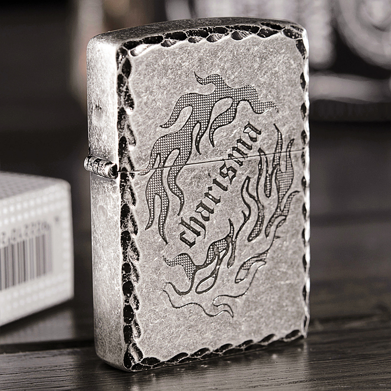 Original genuine zippo lighters engraved antique silver 121fb charm flame c counter genuine limited zipoo