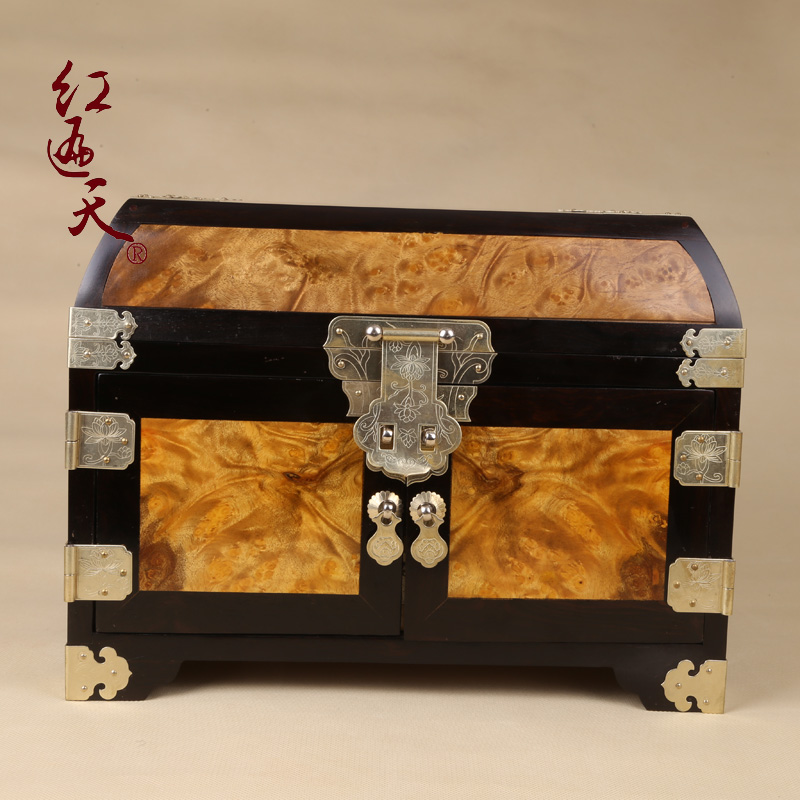 Popular day full tumor scar plain mahogany gold phoebe gold camphor wood jewelry box jewelry boutique storage box