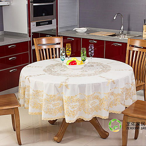 To woo round circular green pvc plastic tablecloth waterproof disposable coffee table cloth tablecloth continental gilt slip