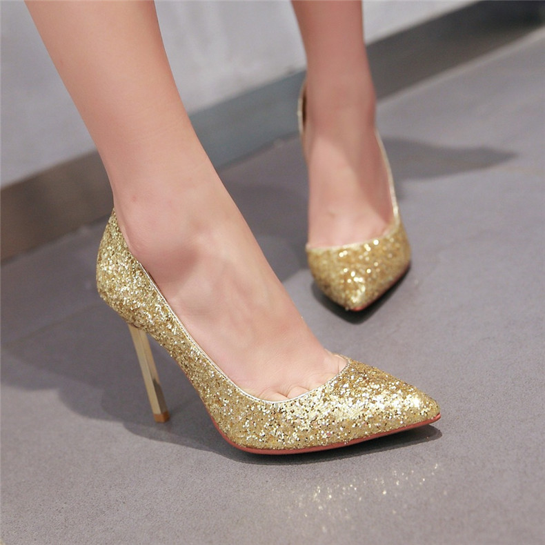 10cm korean version of the super high heels fine with pointed shoes gold sequined wedding shoes spring 2016 models female shoes wedding shoes bridesmaid shoes