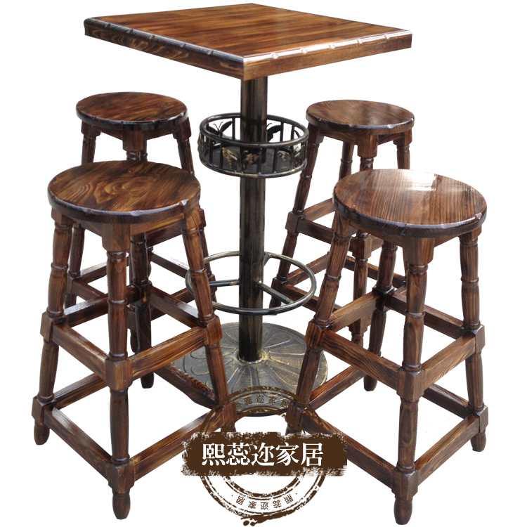 Rui xi er carbonized wood preservative tall bar stool bar coffee bar tables and chairs retro kit installed outdoors