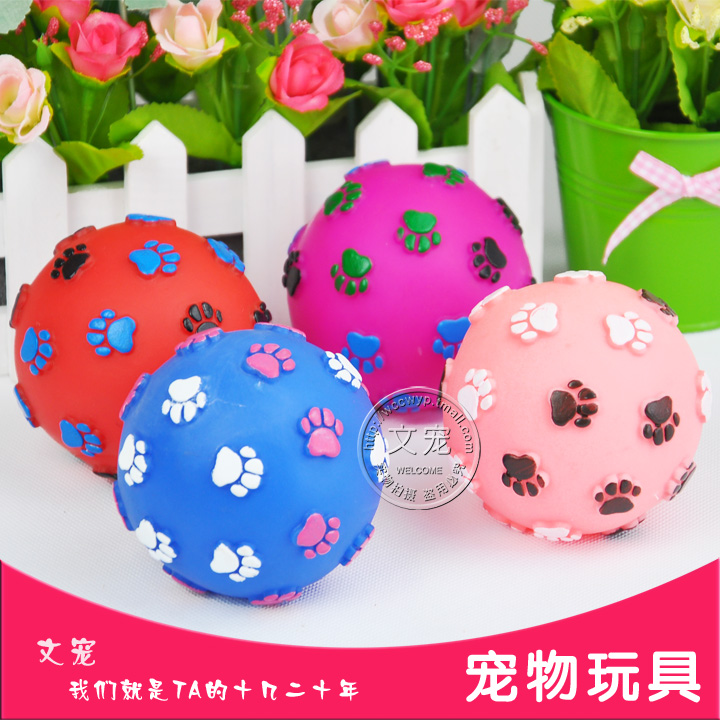 Small and medium sized dog footprints ball pet toy ball pet toy ball toy ball sound funny dog in 189and