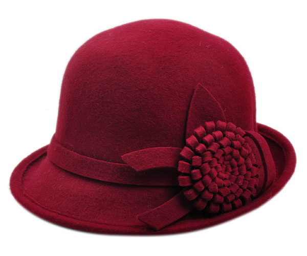 The new british retro dome wool fedora hat autumn and winter hat female hat lady flower hat bucket hats fashion
