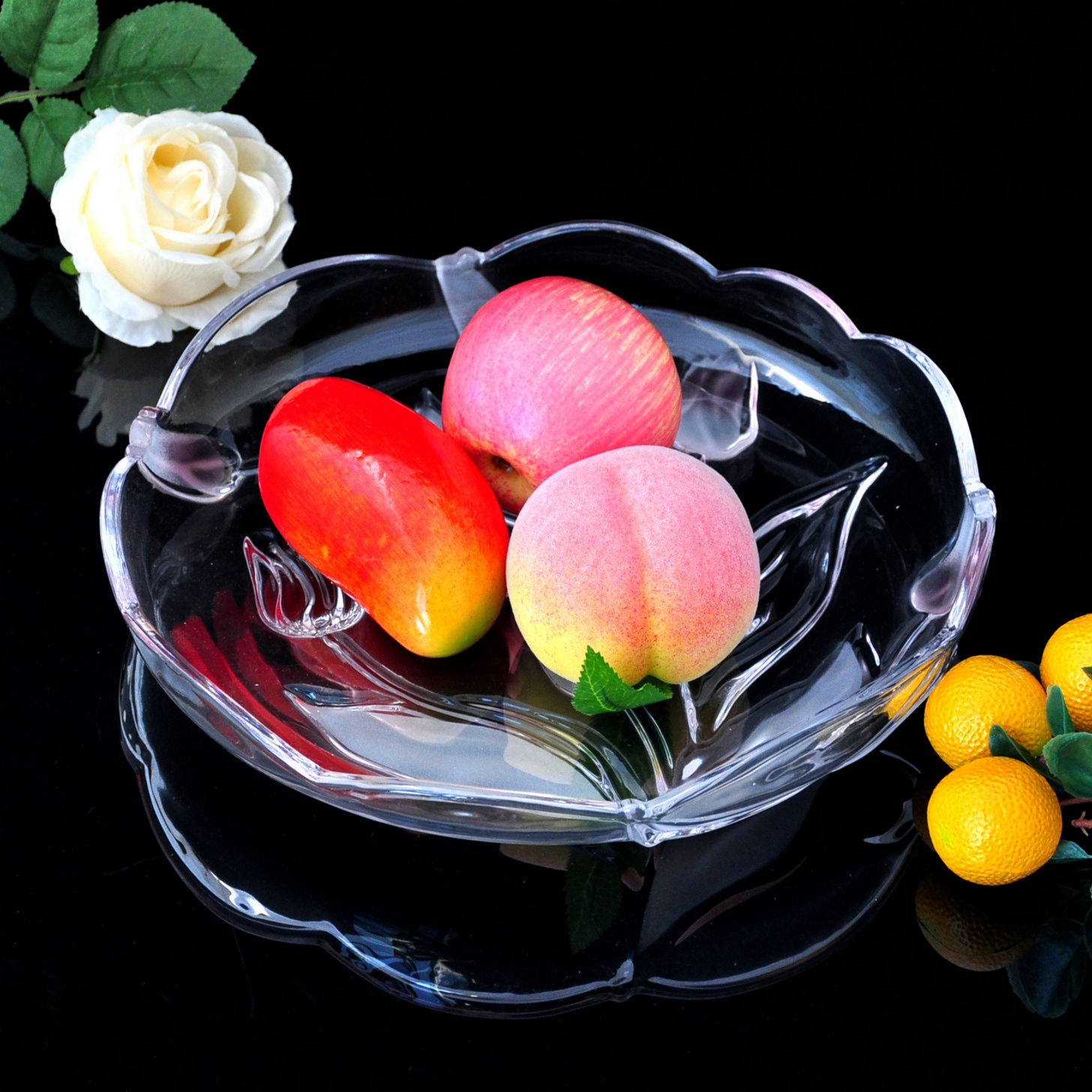 Large crystal fruit plate fruit plate glass fruit bowl dish dried fruit compote fruit bowl european living room ornaments wedding gifts