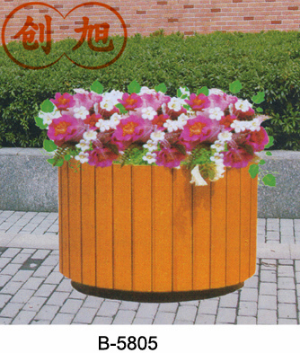 Outdoor wood preservative wooden flower pot holder square flower pots flower boxes large parterre king district park trees flower rack shelf
