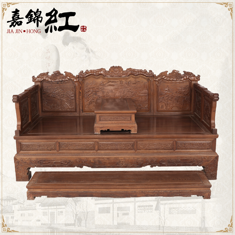 Wenge throne ocean bed solid wood classical antique chinese rosewood furniture sofa bed bed camp bed twin bed
