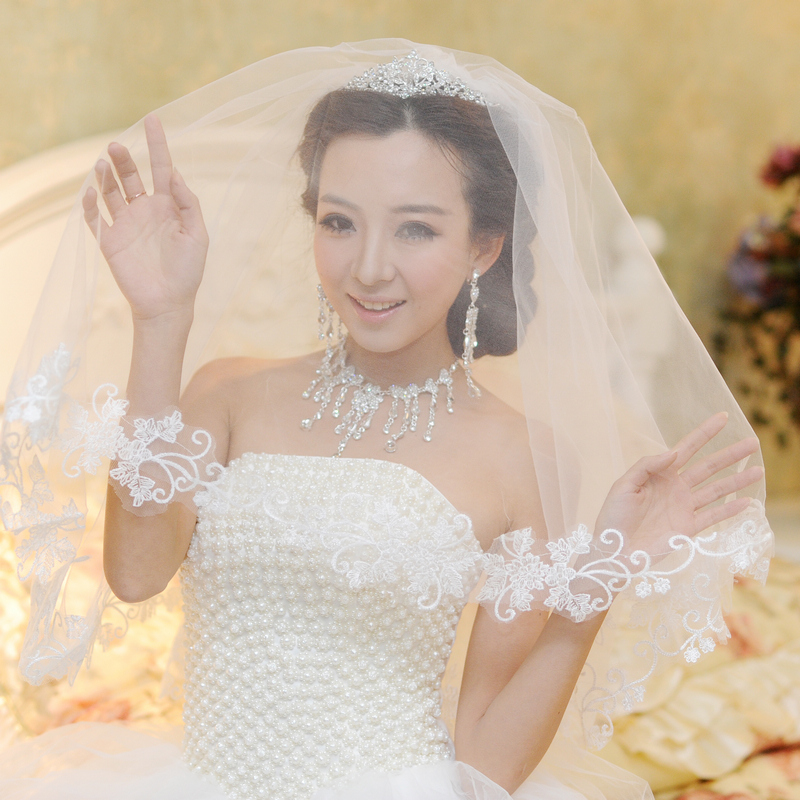 Yi mandi bride lace veil lace bridal veil veil wedding dress with ornaments ornaments 30