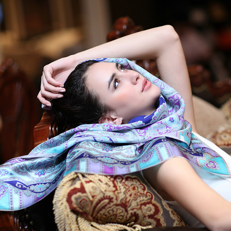 Card pattern mousse printing large square silk scarf silk scarf spring and female clothing accessories scarf