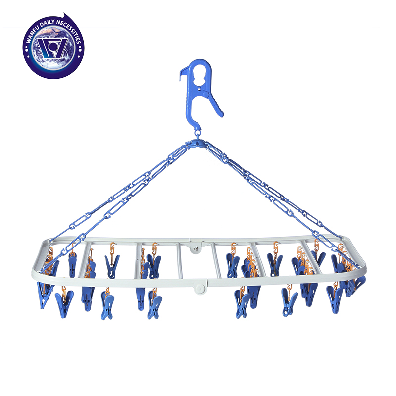 Plastic folding travel hanger drying rack clothes hanger rack more versatile windproof clip clip infant child hanger clip