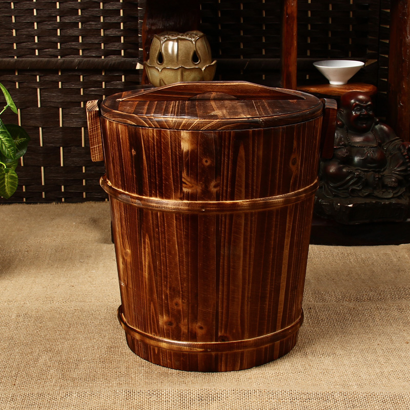 百鸿thick plastic bucket of tea tea leaves tea bucket drain bucket with lid detong carbonized wood specials