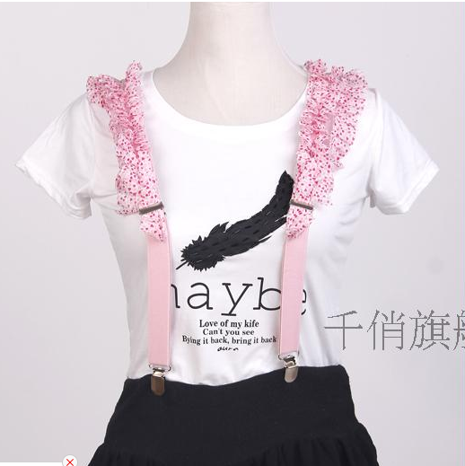 Free shipping thousands of pretty sweet lace strap weaving ms. strap clip strap clip strap pants overalls ms. girls pink