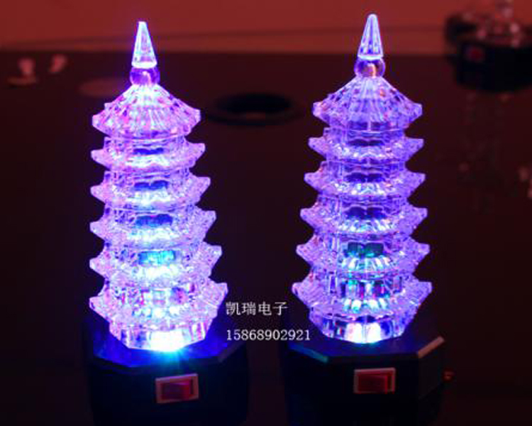 0369 chong cheng electronics acrylic flash luminous pagoda pagoda nightlight luminous luminous decorations