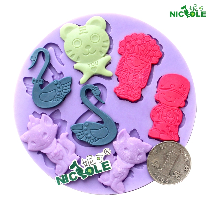 Nicole mini silicone mold chocolate fondant mold fondant mold swan wedding bride and groom