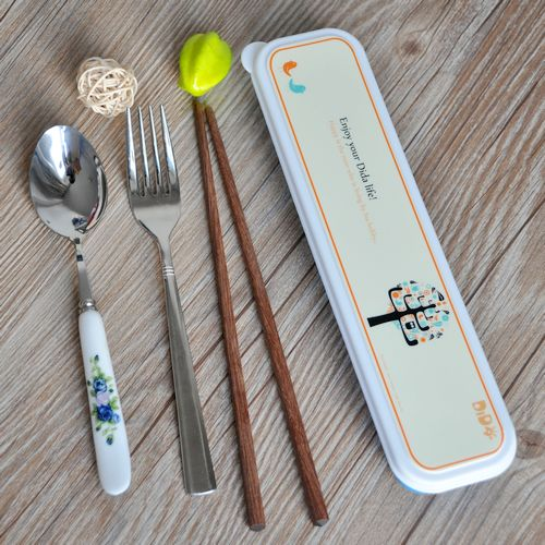 Free shipping! dream tree box mahogany wood chopsticks portable ceramic handle stainless steel spoon spoons fork cutlery family of four