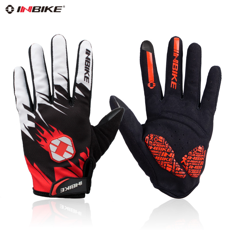 Inbike autumn thin section full finger cycling gloves long finger cycling gloves with touch screen function riding running equipment