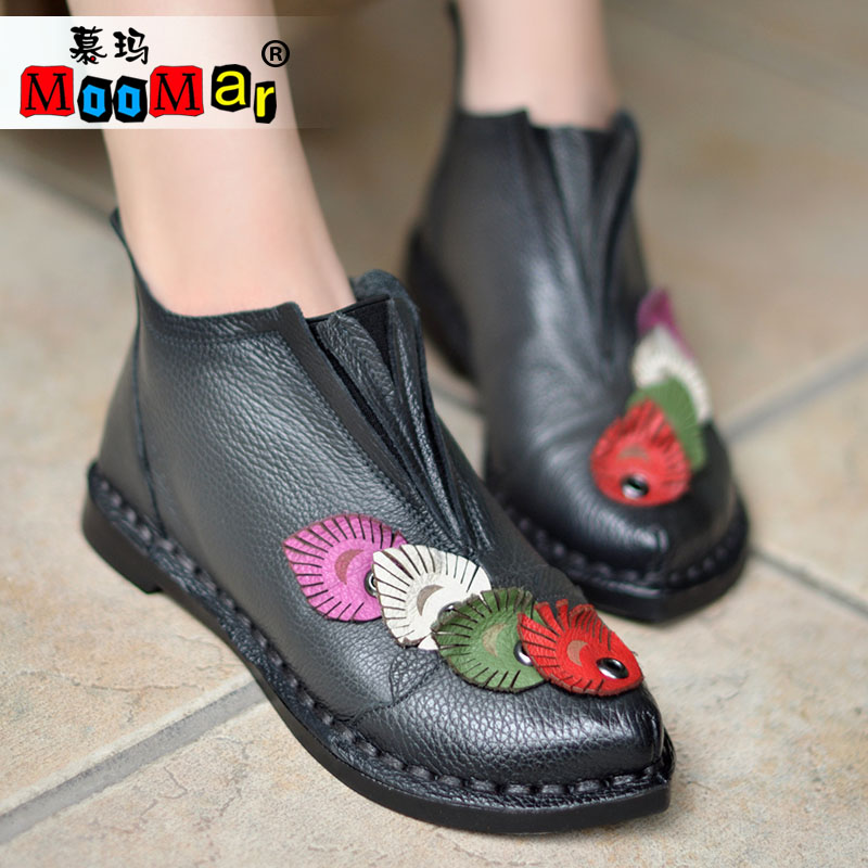 12moo bgd/muma 16 autumn sen female boots handmade leather soft bottom flat with pointed leather china ethnic flowers boots