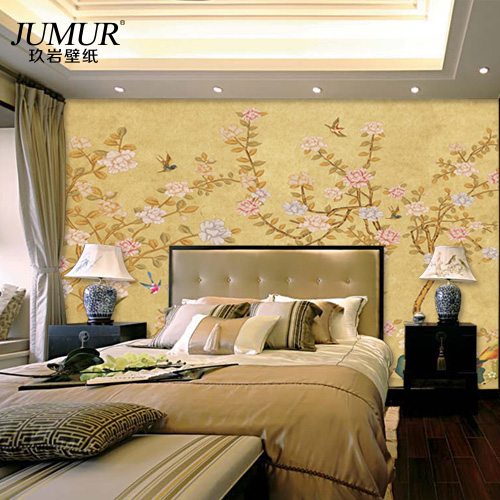 Bedroom den entrance living room tv wall backdrop of chinese bird and flower wallpaper seamless wallpaper murals