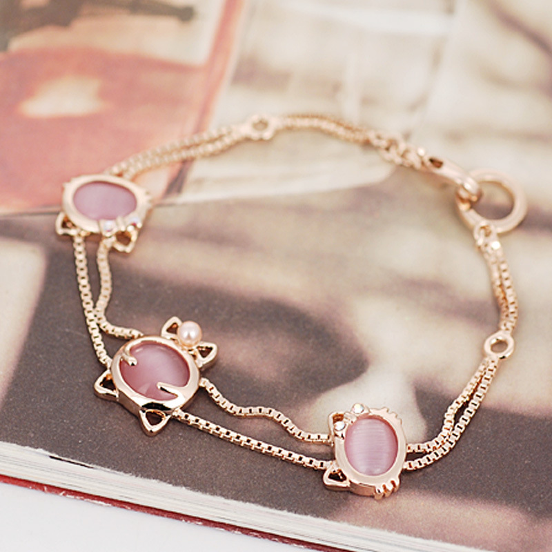 Kitty lovely sweet opal bracelet fashion jewelry gold plated alloy jewelry popular female valentines day