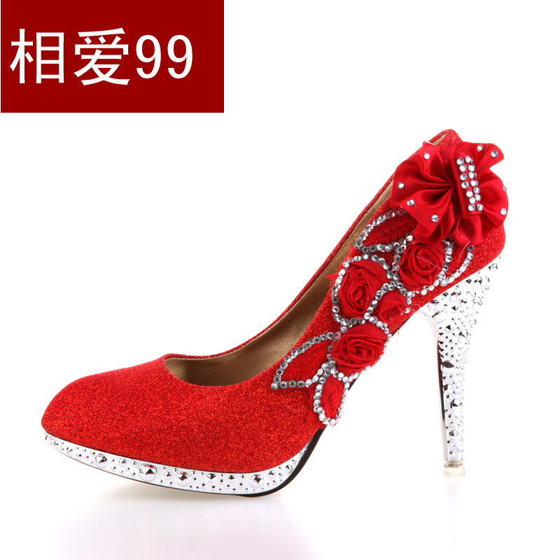 The new bride wedding shoes high heels shoes rhinestone crystal wedding shoes bridesmaid shoes show shoes women gold silver red