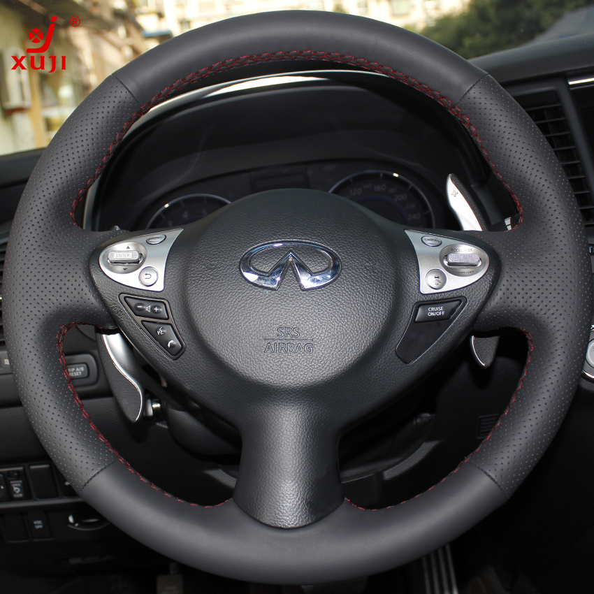 Xu remember infiniti fx35/37 car special sew leather steering wheel cover modification of leather to cover shipping