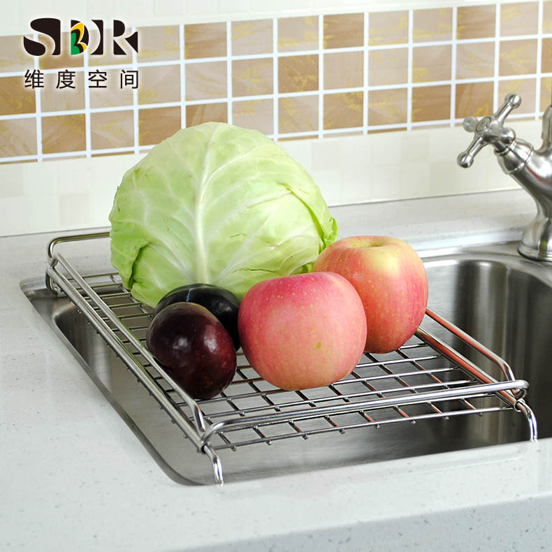 Sdr flat scalable rack drain 304 stainless steel sink drain basket kitchen sink dish rack shelf