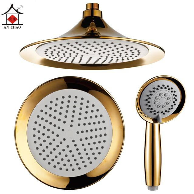 An nest 8 inch gold-plated flared single shower top spray shower head shower head nozzle handheld portable