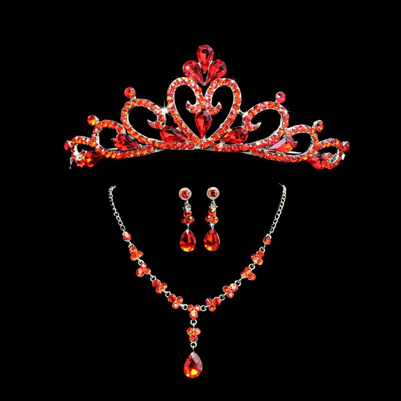 Bride wedding necklace crown tiara necklace earrings red cheongsam dress three sets of luxury suite
