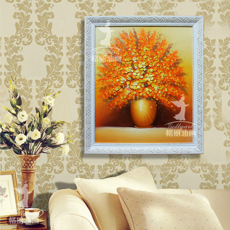 Bulgari modern decorative painting restaurant entrance mural paintings of flowers painted pure thick three-dimensional painting blooming specials