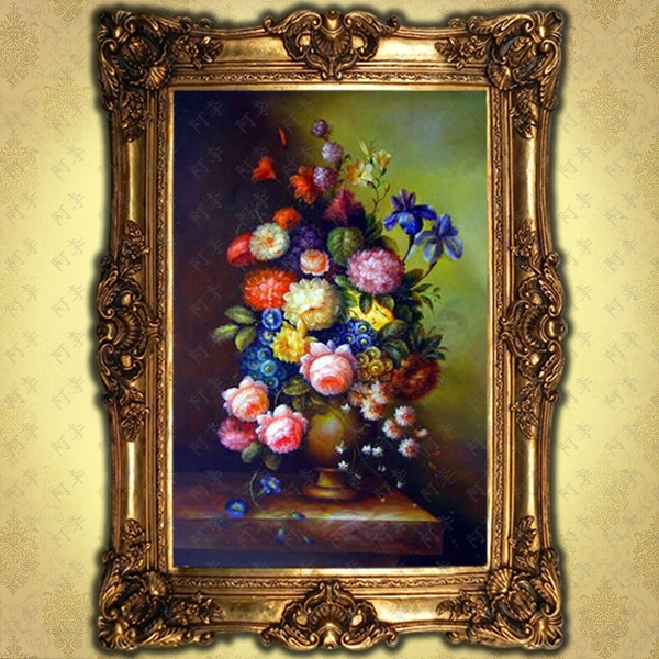 Handmade oil painting pure hand painted flower european classical villa hotel entrance living room fireplace decorative paintings framed 14