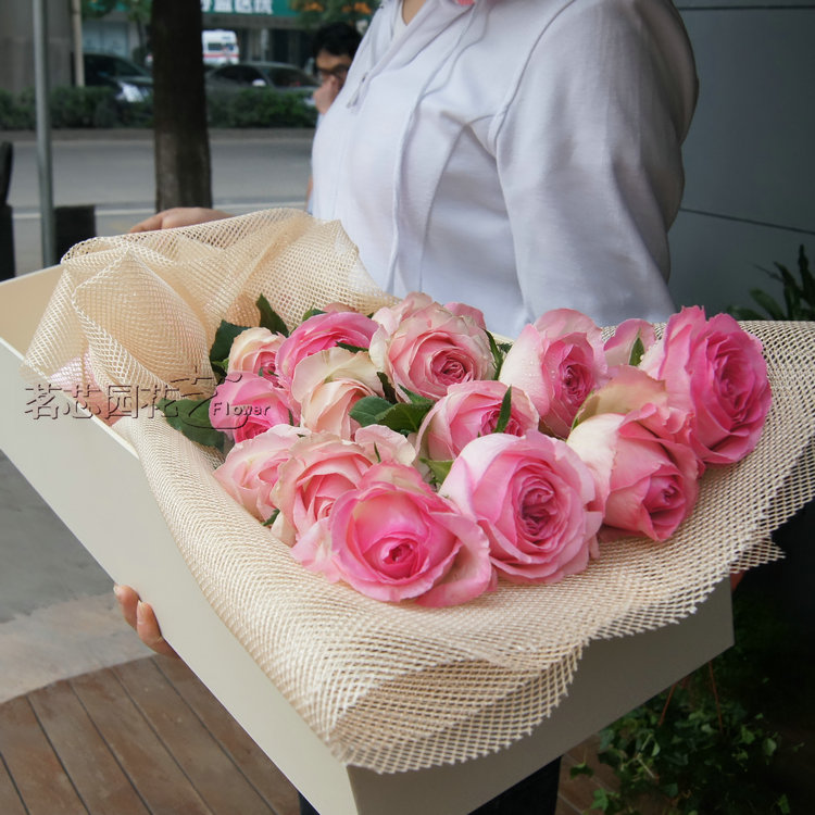 19 pink roses flower gift tanabata valentine's day flowers flower shop in changsha railway station radio and television sifangping flowers