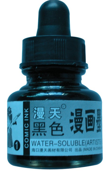 Original manuscript filled comic hook line ink water-soluble/water/drying/bright optional straw glass bottle