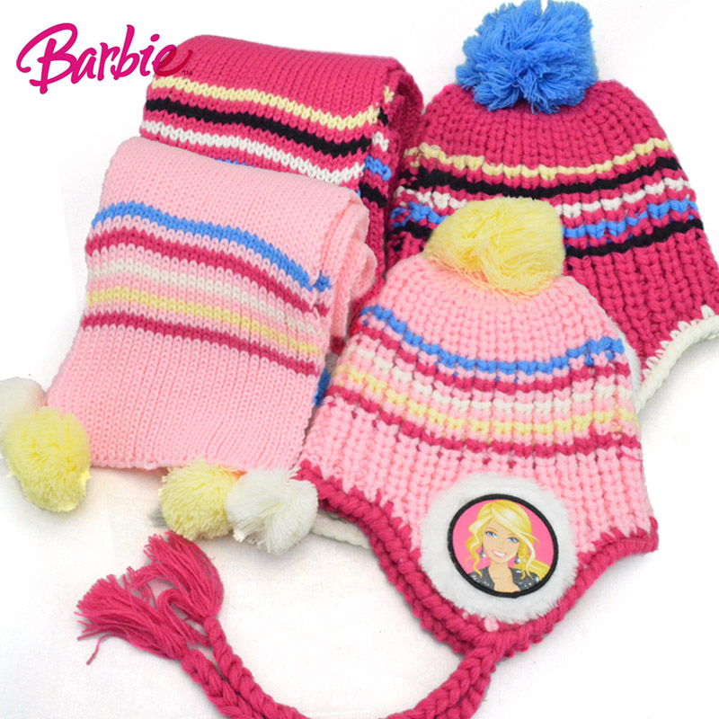 Barbie girls hat autumn and winter hat cap ear warm hat knitted hat children hat scarf piece girls