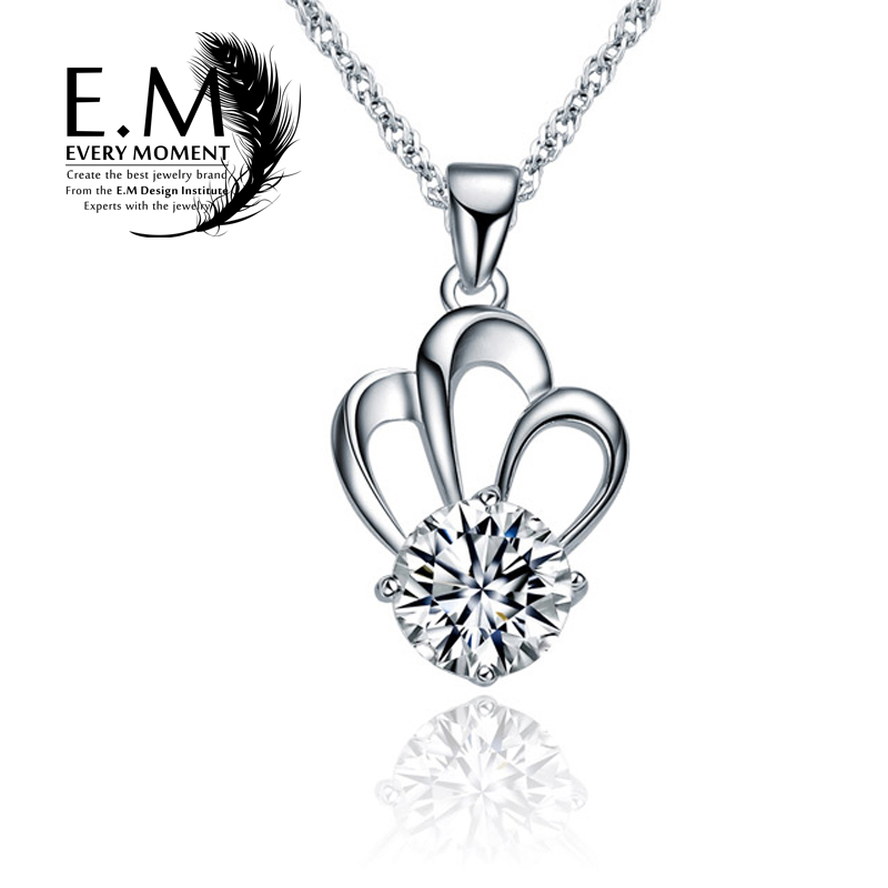 E. m crystal crown pendant 925 silver necklace female korean fashion clothing accessories silver jewelry to send his girlfriend a birthday gift