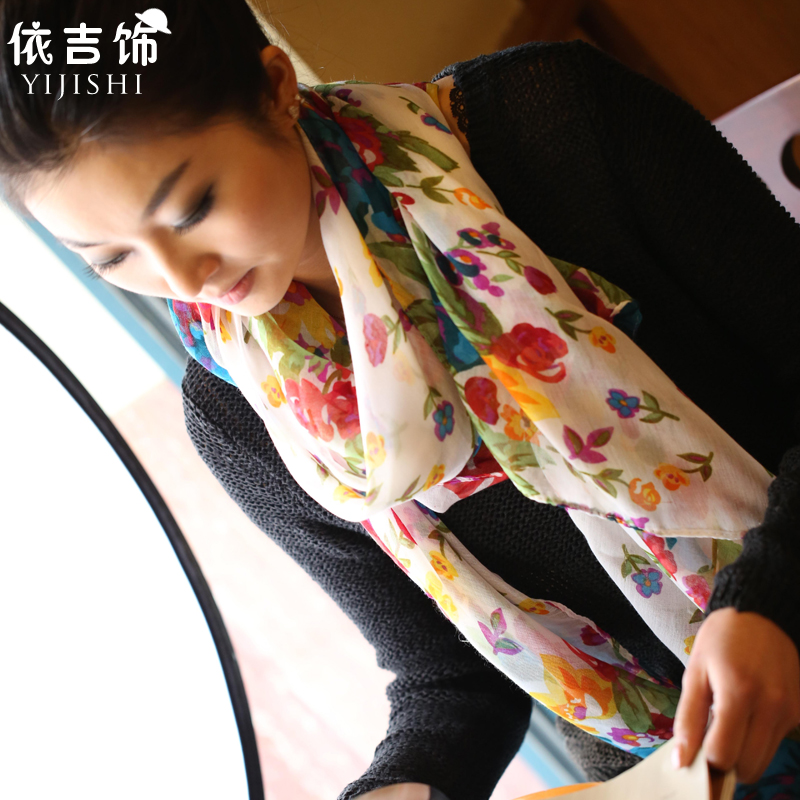 Kat decorated according to ms. summer garden floral scarf printed scarf long scarf shawl women scarf