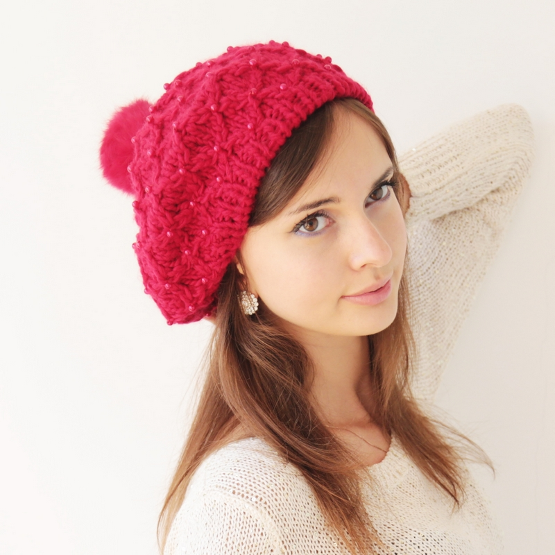a17fe2ae4df Get Quotations · Winter red pearl decorative rabbit fur balls authentic  handmade wool hat bud ms. warm hat