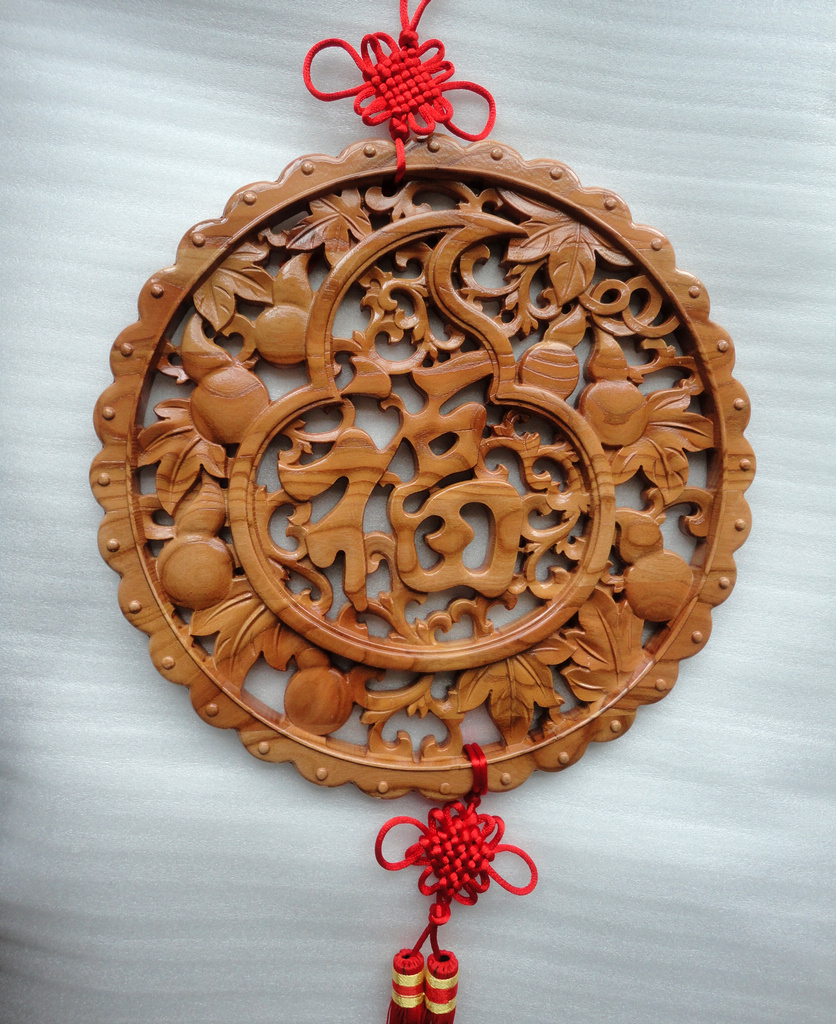 Mahogany calabash gourd pendant word blessing lunar new year tiger mascot to help transport by choi fluke guard paul