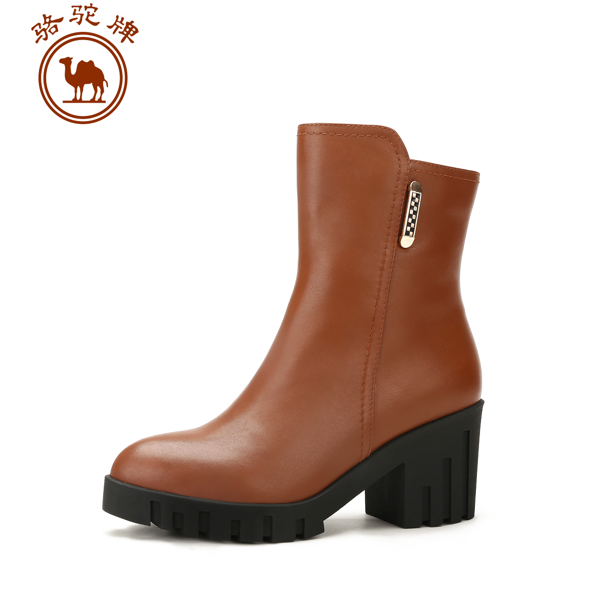 Camel new winter men's everyday casual leather shoes women high heels rough with women's boots in the tube side zipper boots women fashion