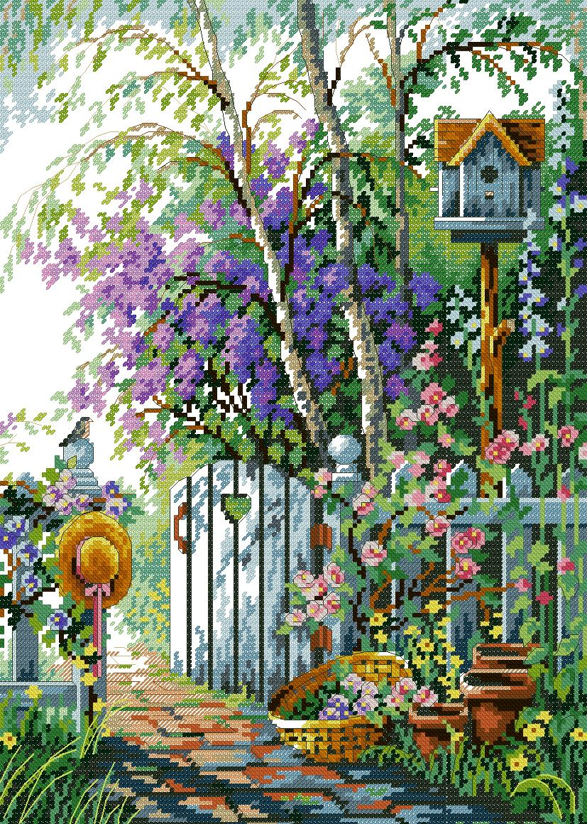 Boutique france dmc cross stitch precision printing new living room boutique landscape paintings quiet garden after