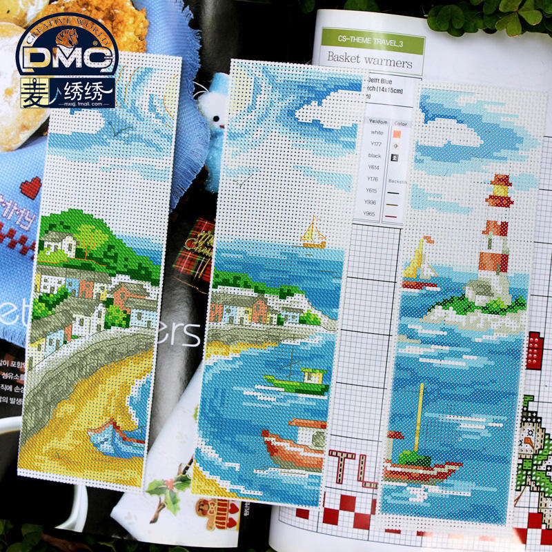 France dmc cross stitch genuine monopoly 14ct plastic sheeting bookmarker seascape bookmarker free shipping [special]