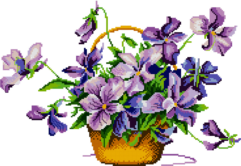 France dmc cross stitch kit genuine monopoly bedroom new series of paintings of flowers purple flower baskets