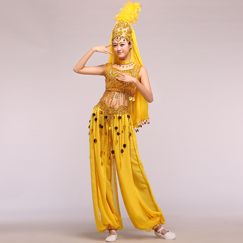 Fell in love with dance xinjiang dance indian dance belly dance gorgeous uygur dance clothes ethnic clothing
