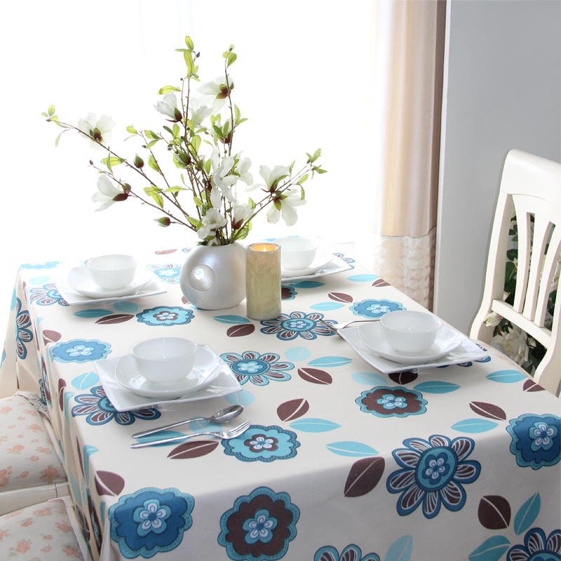 [Oh] for habitat blue flower american pastoral coffee table cloth cover cloth lace tablecloth tea table cloth custom fabric